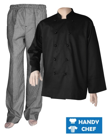 Black Long Sleeve Chef Jacket, Checkered Pant Combo Set