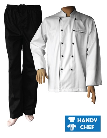 White Long Sleeve Black Piping Chef Jacket, Black Pant Set