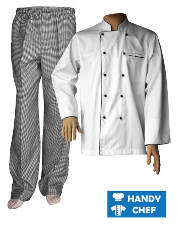 Black Piping Long Sleeve Chef Jacket, Checkered Pant Combo Set