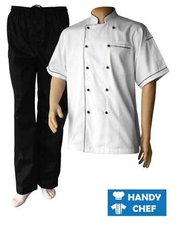 Chef Jacket Black Piping Short Sleeve + Black Pant