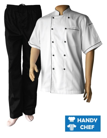 White Short Sleeve Black Piping Chef Jacket, Black Pant Set