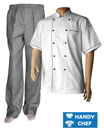 White Short Sleeve Black Piping Chef Jacket, Checkered Pant Set