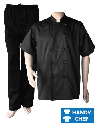 Black Short Sleeve Chef Jacket, Kitchen Black Pant Combo Set