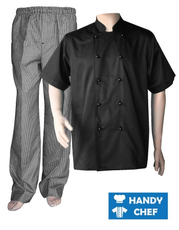 Black Short Sleeve Chef Jacket, Kitchen Checkered Pant Combo Set