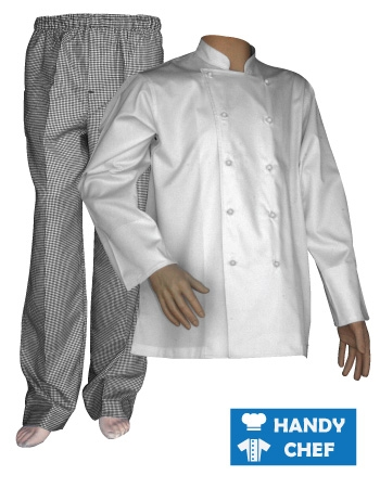 White Chef Long Sleeve Jacket, Kitchen Checkered Pant Set