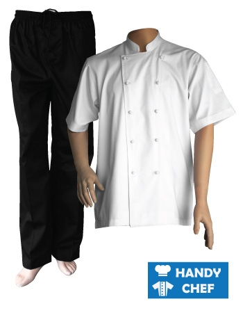 White Short Sleeve Chef Jacket, Black Pant Combo Set