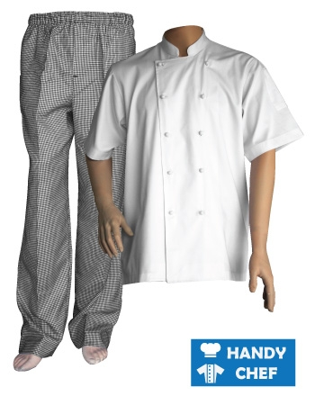 White Short Sleeve Chef Jacket, Kitchen Checkered Pant Combo Set