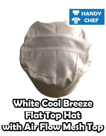 Kitchen Chef White Cool Air Mesh Top, Bakery White Breeze Flat Cap Hat
