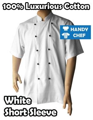 Chef White Luxurious Coat 100% Cotton Short Sleeve Jacket