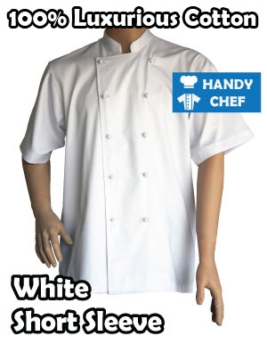 White Chef Short Sleeve Jacket, 100% Cotton Luxury Restaurant SS Coat