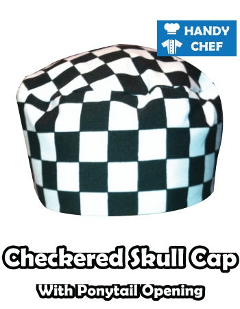 Kitchen Chef Checkered Skull Cap, Commercial Baker Checkered Hat