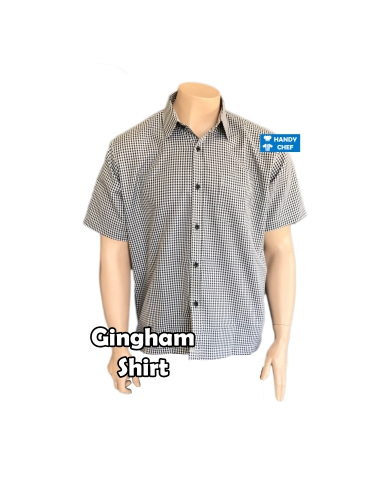 Café gingham stripe shirts, restaurant hospitality gingham polo attire