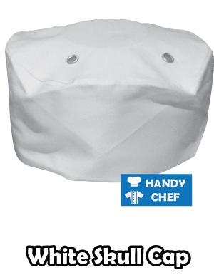 Kitchen Chef White Skull Cap, Bakery White Skull Hat