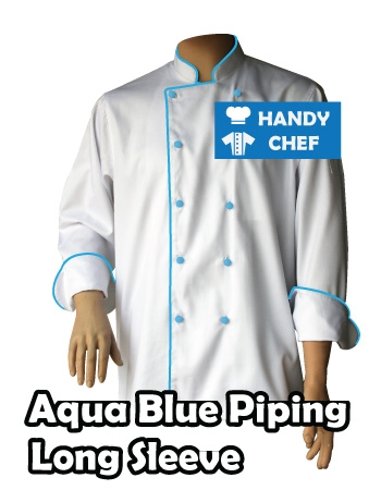 Long Sleeve Blue Piped White Jacket, Aqua Blue Piping Long White Coat