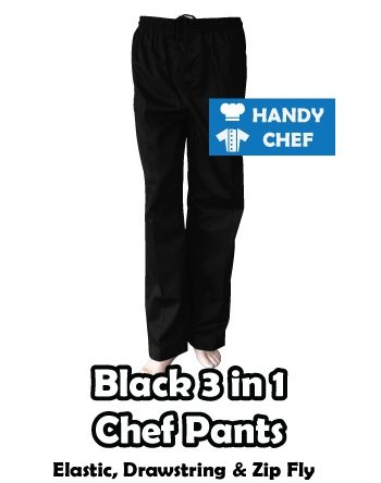 Black Chef Pant with Elastic, Drawstrings, Zip Fly, Belt Loops
