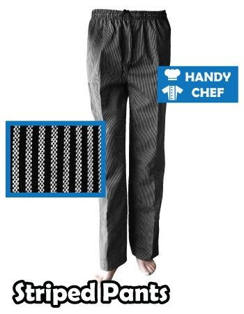 Professional Chef Striped Pants, Kitchen Striped Black White Trousers