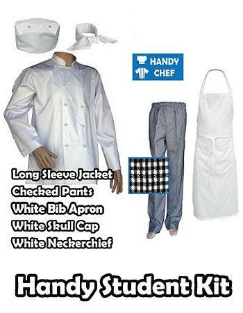 Hospitality Student Kit, Bib Apron, Traditional White Jacket Black Pant Set