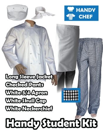 Hospitality Student Kit, Quarter Apron, Traditional White Jacket Check Pant Set