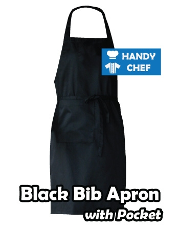 Traditional Professional Chef Black Bib Apron, Kitchen Black Apron