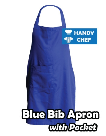 Blue Coloured Professional Chef Bib Apron, Kitchen Blue Cooking Aprons