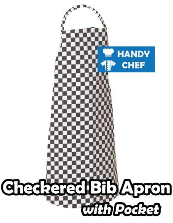 Black White Check Professional Chef Apron, Kitchen Black White Aprons
