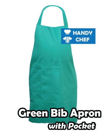 Green Coloured Professional Chef Bib Apron, Kitchen Green Chef Aprons