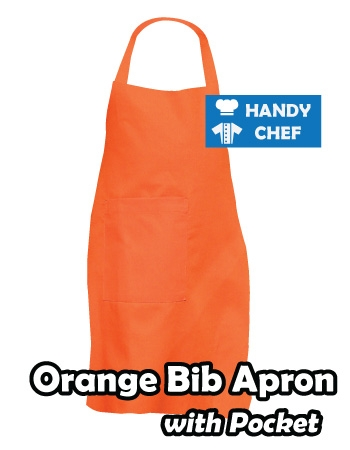 Orange Coloured Professional Chef Bib Apron, Kitchen Orange Chef Aprons