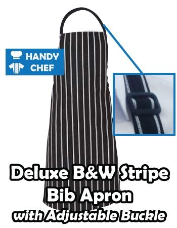 Black White Striped Professional Chef Apron, Buckle Black White Aprons