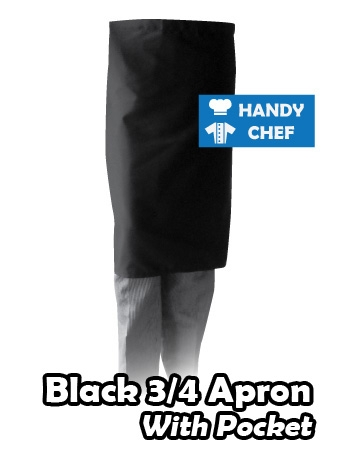 Black Quarter Long Apron, Kitchen Black Pocketed Long Apron