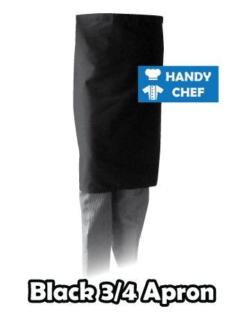 Bistro Black Chef Quarter Apron, Kitchen Long Black Apron for Sous Chefs, Commercial Kitchen Staff, Waiting Staff in Restaurant and Cafes