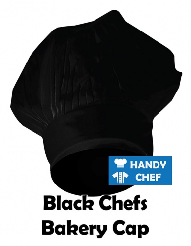 Kitchen Chef Black Plain Cap, Bakery Black Cap Hat