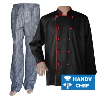 Black Long Sleeve Red Piped Chef Jacket, Checkered Pant Combo Set