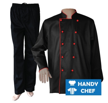 Black Long Sleeve Red Piped Chef Jacket, Coat Black Pant Uniform Set