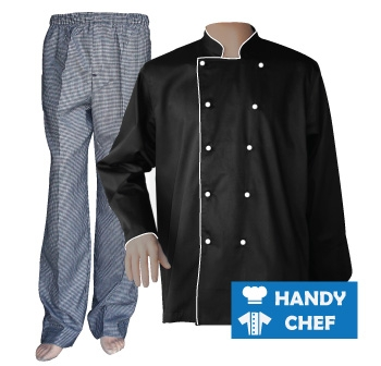 Black Long Sleeve White Piped Chef Jacket, Coat Checkered Pant Set