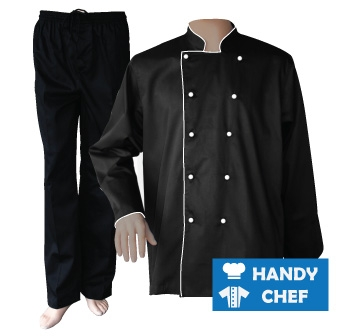 Black Long Sleeve White Piped Chef Jacket, Coat Black Pant Uniforms Set
