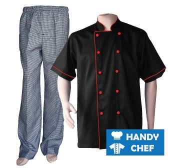 Black Short Sleeve Red Piped Chef Jacket, Checkered Pant Combo Set