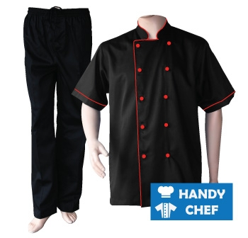 Black Short Sleeve Red Piped Chef Jacket, Coat Black Pant Uniform Set