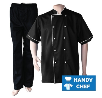 Black Short Sleeve White Piped Chef Jacket, Coat Black Pant Set