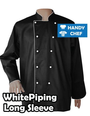 Executive Chef Long Sleeve Black Jacket, Kitchen White Piping Black Coat