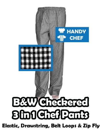 Traditional Professional Chef Checker 3-in-1 pant, Kitchen Check Trousers
