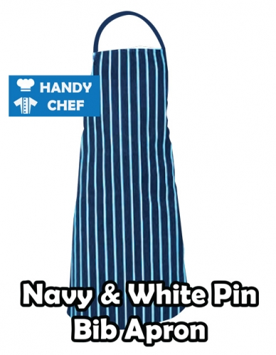 Navy White Pocket Chef Bib Apron, Kitchen Navy White Bib Apron