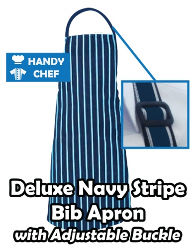 Navy White Pin Buckle Chef Bib Apron, Kitchen Navy White Pin Apron