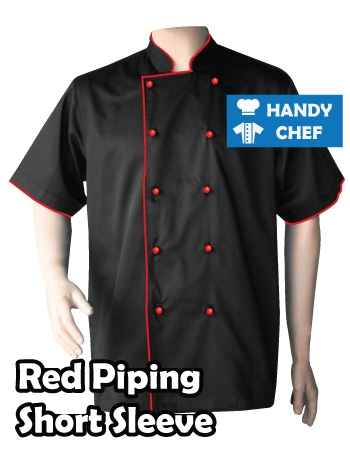 Executive Chef Short Sleeve Black Jacket, Kitchen Red Piping Black Coat