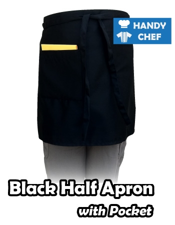 Pocketed Black Chef Half Apron, Kitchen Black Pocketed Apron