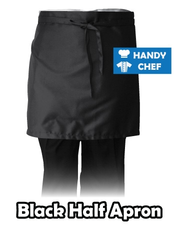 Black Bistro Chef Half Apron, Kitchen Black Half Apron
