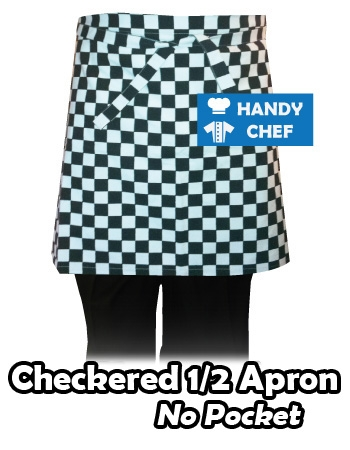Bistro Chef Short Aprons Black Checkered, Kitchen Black Check Apron