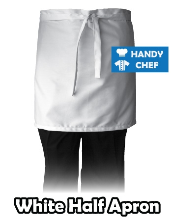 White Bistro Chef Half Apron, Kitchen White Half Apron