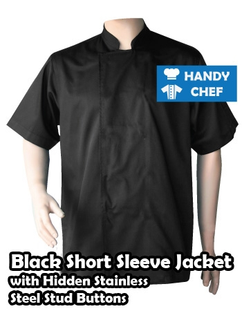 Black Chef Jackets with Hidden Steel Buttons, Short Sleeve Studded Coats