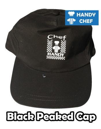 Kitchen Chef Black Peaked Cap, Bakery Black Peaked Cap Hat