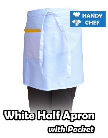 Pocketed White Chef Half Apron, Kitchen White Pocketed Apron